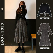 Dress Spring 2021 Black sweater + black dress, black sweater, black dress S,M,L,XL longuette Two piece set Long sleeves commute V-neck High waist Broken flowers Socket A-line skirt routine Others 18-24 years old Type A Retro printing RS612381386634B0636 71% (inclusive) - 80% (inclusive)