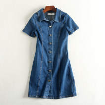 Dress Spring of 2019 As shown in the figure XS,S,M,L,XL,2XL,3XL singleton  Short sleeve commute Polo collar Solid color Single breasted A-line skirt routine Others 18-24 years old Type A 51% (inclusive) - 70% (inclusive) Denim cotton