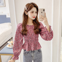shirt Pink white S M L XL Spring 2021 other 96% and above Long sleeves commute Regular square neck Socket pagoda sleeve Broken flowers 25-29 years old Self cultivation Ding Yali Korean version h923 Ruffle fold Other 100% Pure e-commerce (online only)