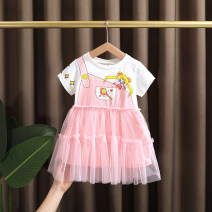 Dress Pink female Dr. Black  80cm,90cm,100cm,110cm,120cm,130cm Cotton 95% other 5% summer Korean version Short sleeve Cartoon animation cotton A-line skirt 2021-3.22-A007 Class A 12 months, 9 months, 18 months, 2 years old, 3 years old, 4 years old, 5 years old, 6 years old, 7 years old