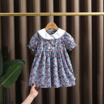 Dress Picture color female Dr. Black  90cm,100cm,110cm,120cm,130cm Cotton 95% other 5% summer Forest Department Short sleeve Broken flowers cotton A-line skirt 2021-4.7-B008 Class A 12 months, 9 months, 18 months, 2 years old, 3 years old, 4 years old, 5 years old, 6 years old, 7 years old
