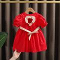 Dress gules female Dr. Black  90cm,100cm,110cm,120cm,130cm Cotton 95% other 5% summer Korean version Short sleeve Solid color cotton A-line skirt 2021-4.13-B010 Class A 12 months, 9 months, 18 months, 2 years old, 3 years old, 4 years old, 5 years old, 6 years old, 7 years old Chinese Mainland
