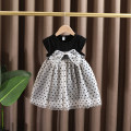 Dress black female Dr. Black  90cm,100cm,110cm,120cm,130cm Cotton 95% other 5% summer leisure time Short sleeve Dot cotton A-line skirt 2021-4.14-B012 Class A 12 months, 9 months, 18 months, 2 years old, 3 years old, 4 years old, 5 years old, 6 years old, 7 years old Chinese Mainland