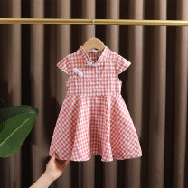 Dress Pink, light blue female Dr. Black  90cm,100cm,110cm,120cm,130cm Cotton 95% other 5% summer ethnic style Short sleeve lattice cotton Big swing 2021-4.14-B03 Class A 12 months, 9 months, 18 months, 2 years old, 3 years old, 4 years old, 5 years old, 6 years old, 7 years old Chinese Mainland