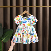 Dress Picture color female Dr. Black  90cm,100cm,110cm,120cm,130cm Other 100% summer Originality Short sleeve Plants and flowers Chiffon other 2021-4.8-B002 Class A 12 months, 9 months, 18 months, 2 years old, 3 years old, 4 years old, 5 years old, 6 years old, 7 years old Chinese Mainland