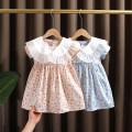 Dress Light blue, pink female Dr. Black  90cm,100cm,110cm,120cm,130cm Cotton 95% other 5% summer fresh cotton A-line skirt Class A 12 months, 9 months, 18 months, 2 years old, 3 years old, 4 years old, 5 years old, 6 years old, 7 years old Chinese Mainland Zhejiang Province Huzhou City
