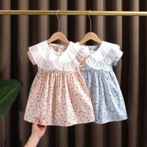 Dress Light blue, pink female Dr. Black  90cm,100cm,110cm,120cm,130cm Cotton 95% other 5% summer fresh cotton A-line skirt Class A 12 months, 9 months, 18 months, 2 years old, 3 years old, 4 years old, 5 years old, 6 years old, 7 years old Chinese Mainland Zhejiang Province Huzhou City