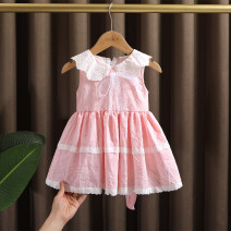 Dress Pink, blue female Dr. Black  80cm,90cm,100cm,110cm,120cm,130cm Cotton 95% other 5% summer lady Skirt / vest lattice cotton A-line skirt 2021-4.13-B19 Class A 12 months, 9 months, 18 months, 2 years old, 3 years old, 4 years old, 5 years old, 6 years old, 7 years old Chinese Mainland
