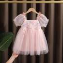Dress Pink female Dr. Black  90cm,100cm,110cm,120cm,130cm Cotton 95% other 5% summer Fairy wind Short sleeve flower cotton Princess Dress 2021-4.10-B011 Class A 12 months, 9 months, 18 months, 2 years old, 3 years old, 4 years old, 5 years old, 6 years old, 7 years old Chinese Mainland Huzhou City