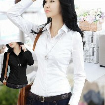 shirt Black and white are too small. It's suggested to buy a larger size S M L XL 2XL 3XL Summer of 2019 other 96% and above Long sleeves commute Medium length Polo collar Single row multi button routine Solid color 18-24 years old Self cultivation Yufeng Korean version Pleated pocket button