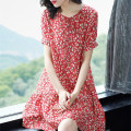 Dress Summer of 2019 S M L XL 2XL Short skirt singleton  Short sleeve commute Crew neck Elastic waist Decor Socket A-line skirt routine Others 30-34 years old Type A Aoyanmei lady Lace up print More than 95% Crepe de Chine other Triacetate fiber (triacetate fiber) 100%