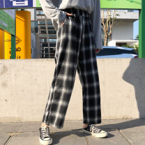 Casual pants Black check yellow check black and white (autumn and winter plush) yellow check (autumn and winter plush) M L XL 2XL Winter of 2019 trousers Haren pants High waist commute thickening 18-24 years old 91% (inclusive) - 95% (inclusive) qq626 Put it first cotton pocket