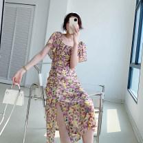 Dress Summer 2021 Printed purple S,M,L Mid length dress singleton  Short sleeve commute Crew neck High waist Broken flowers Socket A-line skirt Others Type A 21413SK-LYQ8123 other