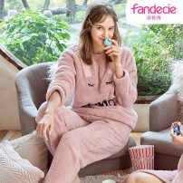Pajamas / housewear set female Fandecie  M,L,XL Polyester (polyester) Long sleeves winter thickening Crew neck Ninth pants Socket youth 2 pieces rubber string
