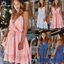 Dress Summer 2020 White, blue, pink S,M,L,XL Middle-skirt Sleeveless Dot Socket other camisole Other / other