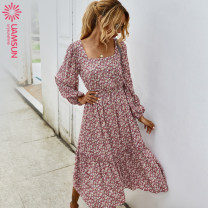 Dress Autumn 2020 Green, black, pink, original design, independent shooting S,M,L,XL longuette singleton  Long sleeves square neck High waist Broken flowers Socket Big swing routine 25-29 years old Type A Other / other K203033 71% (inclusive) - 80% (inclusive)