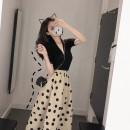 Women's large Summer 2021 Black top + polka dot skirt S M L XL Meiqingfen Other 100%