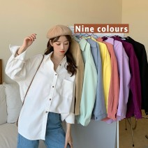 shirt White Khaki mint green blue yellow pink light purple dark purple black S M L XL Spring 2021 other 96% and above Long sleeves commute Regular Polo collar Single row multi button shirt sleeve Solid color 18-24 years old Straight cylinder Gehan Meiyi Korean version 8265# Pocket button
