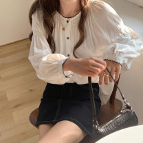 shirt White apricot S M L XL Spring 2021 other 96% and above Long sleeves commute Regular Crew neck Single row multi button puff sleeve Solid color 18-24 years old Straight cylinder Gehan Meiyi Korean version Button Other 100.00% Exclusive payment of tmall