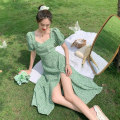 Dress Summer 2020 White flower dress with green background S M L Mid length dress singleton  Short sleeve commute square neck High waist Broken flowers Socket Irregular skirt puff sleeve Others 18-24 years old Type A Gehan Meiyi Retro Asymmetric printing More than 95% other other Other 100.00%