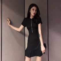 Dress Summer 2021 black XS S M L XL XXL 3XL 4XL Short skirt singleton  Short sleeve commute V-neck High waist Solid color Socket A-line skirt routine 18-24 years old xnz zipper *9555 More than 95% other Other 100% Pure e-commerce (online only)
