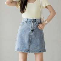 skirt Summer 2021 S M L XL Light denim Short skirt Versatile High waist A-line skirt Solid color Type A 18-24 years old XH3733#35 91% (inclusive) - 95% (inclusive) Denim Leisure trace other pocket New polyester 95% other 5% Pure e-commerce (online only)