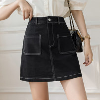 skirt Spring 2021 S M L XL Black Denim apricot denim Short skirt Versatile High waist A-line skirt Solid color Type A 25-29 years old XH9701#34 91% (inclusive) - 95% (inclusive) Denim Leisure trace other pocket New polyester 95% other 5% Pure e-commerce (online only)