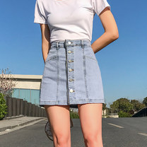 skirt Summer 2021 S M L XL 2XL Denim blue Short skirt Versatile High waist A-line skirt Solid color Type A 18-24 years old XH8747#42 91% (inclusive) - 95% (inclusive) Denim Leisure trace other Button New polyester 95% other 5% Pure e-commerce (online only)