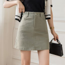 skirt Spring 2021 S M L XL Black apricot army green Short skirt Versatile High waist A-line skirt Solid color Type A 18-24 years old GT617#9698 91% (inclusive) - 95% (inclusive) Denim Leisure trace other pocket New polyester 95% other 5% Pure e-commerce (online only)