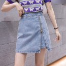 skirt Spring 2021 S M L XL Short skirt Versatile High waist A-line skirt Solid color Type A 18-24 years old 91% (inclusive) - 95% (inclusive) Leisure trace other Button New polyester 95% other 5% Pure e-commerce (online only)