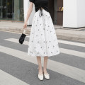 skirt Spring 2021 S M L White black Mid length dress Versatile High waist A-line skirt Broken flowers Type A 18-24 years old XH8572#42 91% (inclusive) - 95% (inclusive) Chiffon Leisure trace other printing New polyester 95% other 5% Pure e-commerce (online only)