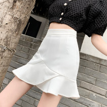 skirt Summer 2021 S M L XL White black Short skirt commute High waist Ruffle Skirt Solid color Type A 25-29 years old 91% (inclusive) - 95% (inclusive) Leisure trace other zipper Korean version New polyester 95% other 5% Pure e-commerce (online only)