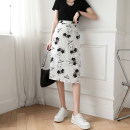 skirt Summer 2021 S M L XL Black and white longuette Versatile High waist A-line skirt Cartoon animation Type A 18-24 years old XH66627#29 91% (inclusive) - 95% (inclusive) Chiffon Leisure trace other printing New polyester 95% other 5% Pure e-commerce (online only)