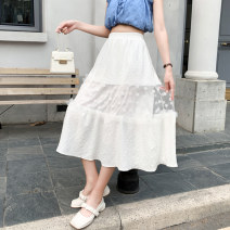 skirt Summer 2021 S M L XL White black longuette commute High waist A-line skirt Solid color Type A 18-24 years old XH8576 # forty-three 91% (inclusive) - 95% (inclusive) Leisure trace other Lace Korean version New polyester 95% other 5% Pure e-commerce (online only)