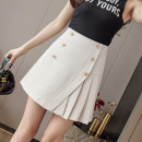 skirt Spring 2021 S M L XL Black apricot Short skirt Versatile High waist A-line skirt Solid color Type A 25-29 years old 91% (inclusive) - 95% (inclusive) Leisure trace other Button New polyester 95% other 5% Pure e-commerce (online only)