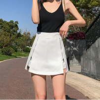 skirt Summer 2021 S M L XL 2XL White black Short skirt Versatile High waist A-line skirt Solid color Type A 18-24 years old XH8736#37 91% (inclusive) - 95% (inclusive) Leisure trace other zipper New polyester 95% other 5% Pure e-commerce (online only)