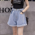Jeans Summer 2021 Light denim S M L XL 2XL 3XL 4XL 5XL shorts High waist Wide legged trousers routine 18-24 years old washing light colour XH9699#33 Leisure trace New polyester 95% other 5% Pure e-commerce (online only)