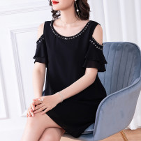 Women's large Summer 2020 black L (about 115-125 kg) XL (about 125-140 kg) 2XL (about 140-155 kg) 3XL (about 155-170 kg) 4XL (about 170-185 kg) 5XL (about 185-200 kg) Dress singleton  commute easy thin Socket Short sleeve Solid color Simplicity Crew neck Medium length polyester Lotus leaf sleeve