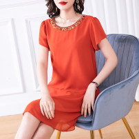 Women's large Summer 2020 orange L (about 115-125 kg) XL (about 125-140 kg) 2XL (about 140-155 kg) 3XL (about 155-170 kg) 4XL (about 170-185 kg) 5XL (about 185-210 kg) Dress singleton  commute Straight cylinder Socket Solid color Simplicity Crew neck Medium length polyester Three dimensional cutting