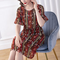 Women's large Summer 2020 Decor Dress singleton  commute easy thin Socket Short sleeve Abstract pattern literature Crew neck polyester Three dimensional cutting pagoda sleeve Cotton Princess 35-39 years old Three dimensional decoration Medium length Polyester 100% Pure e-commerce (online only)