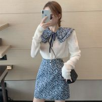 Dress Autumn 2020 White top + Cape + skirt S M L XL Short skirt Two piece set Long sleeves commute other High waist Solid color Socket A-line skirt routine Others 18-24 years old Type A Drawing dreams Korean version bow 60891-15340 More than 95% polyester fiber Polyester 100%