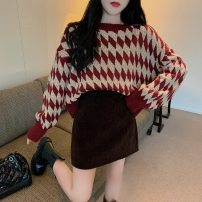 Women's large Winter 2020 S M L Dress Two piece set commute easy Socket Korean version Crew neck routine routine Drawing dreams 18-24 years old Short skirt Polyester 45% other 55% Same model in shopping mall (sold online and offline) Pencil skirt