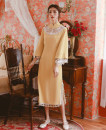 cheongsam Spring 2020 S,M,L Light yellow Long sleeves long cheongsam ethnic style High slit banquet Decor Embroidery cotton 71% (inclusive) - 80% (inclusive)