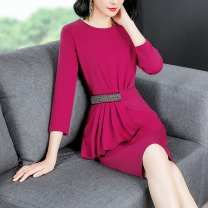 Dress Autumn of 2018 Black, deep rose M,L,XL,2XL,3XL Middle-skirt singleton  three quarter sleeve commute Crew neck middle-waisted Socket routine Type H Other / other literature