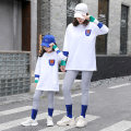 Parent child fashion White pocket logo suit, white smiley face logo suit Women's dress female 110 (27-34 Jin), 120 (34-41 Jin), 130 (41-51 Jin), 140 (51-61 Jin), 150 (61-71 Jin), 160 (71-81 Jin), mom m (90-105 Jin), mom L (105-115 Jin), mom XL (115-130 Jin) Color matching white t suit leisure time