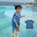 Dress Denim blue female Fall in love with pretty girl 80cm,90cm,100cm,110cm,120cm,130cm,140cm Other 100% summer Korean version Short sleeve Dot other A-line skirt 12 months, 18 months, 4 years old, 2 years old, 3 years old, 5 years old, 6 years old, 7 years old