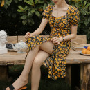 Dress Summer 2020 S,M,L,XL Mid length dress singleton  Short sleeve commute square neck High waist Broken flowers zipper A-line skirt puff sleeve Others 18-24 years old Type A Retro More than 95% other polyester fiber