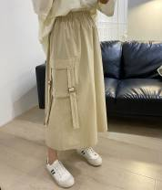 skirt Spring 2021 Average size Black, khaki Mid length dress commute High waist A-line skirt Solid color Type A 30-34 years old 991680 tooling skirt 81% (inclusive) - 90% (inclusive) other other Pocket, ribbon, tooling literature