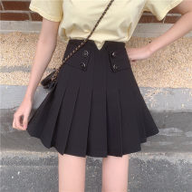 skirt Summer 2021 M,L,XL,2XL,3XL,4XL Black 4 button V Short skirt commute High waist Pleated skirt Solid color Type A 18-24 years old 71% (inclusive) - 80% (inclusive) other other Button, asymmetric, pleated, three-dimensional decoration Korean version