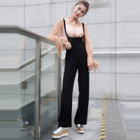 Casual pants black 1/XS,2/S,3/M,4/L,5/XL Summer 2021 trousers rompers High waist Versatile routine 96% and above 5100201-2064011- 001 Brother amashsin pocket polyester fiber